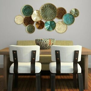 Modern Abstract Metal Wall Art Rustic Textured Plates Home Office Accent Decor $82.67