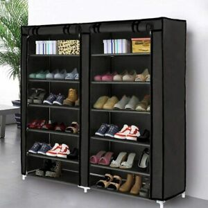 7 Tier Shoe Rack Organizer Cabinet Tower with Nonwoven Fabric Cover Black $57.67