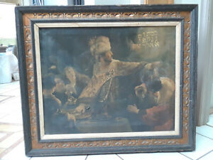 Belshazzaps Feast Framed Painting Antique $150.00