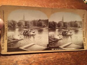 Antique On The Lake in Boston Public Gardens Stereo view card $10.50
