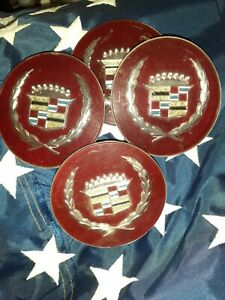 Cadillac hubcap center full set vintage of 4 vibrant red $50.00
