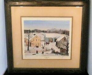 Will Moses Signed Lithograph Print Wintertime Farm 446 1000 $135.00