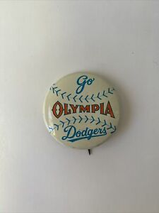 VINTAGE Go Dodgers OLYMPIA BASEBALL BUTTON PIN $40.50