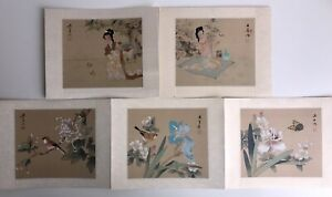 "Lot Of 5 Original Watercolor Paintings Japanese 7"" X 6"" Vintage Signed By Artist $49.99"