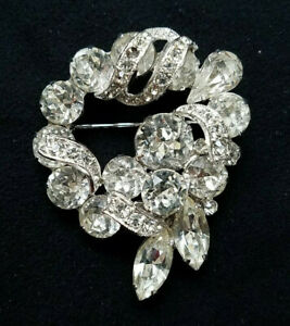 Eisenberg Vintage Signed 74 yr old Crystal Clear Rhinestone Brooch Pin 2quot; x 1.5quot; $32.99