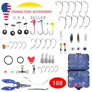 188PCS Fishing Accessories Kit Set with Tackle Box Beans Floats Hooks Swivels