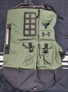 UA X Under Armour Project The Rock Green Military Duffel Bag 90 Backpack New $90.00