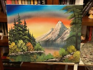 Landscape Oil Painting 16x20 Art Inspired by Bob Ross $30.00