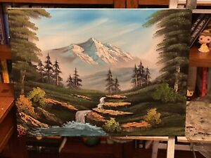 Landscape Oil Painting 18x24 Art Inspired by Bob Ross $40.00