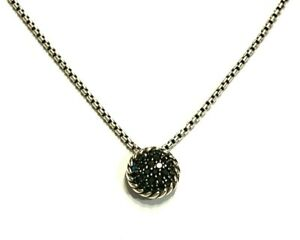 David Yurman Sterling Silver Petite Pave Black Diamond Pendant Necklace 16 17