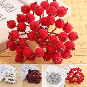 1 Bouquet Mini Christmas Foam Frosted Fruit Artificial Holly Berry Decor Useful $4.10