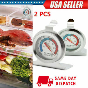 2x Refrigerator Freezer Thermometer Fridge DIAL Type Stainless Steel Hang Stand $8.28