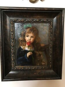 Original Portrait Oil Painting Little Girl With A Rose Wood Frame $99.00