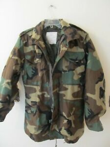 Vintage US Military Camouflage Cold Weather BDU Field Jacket DLA100 Mens Small