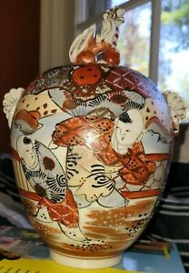 Antique Japanese Meiji Satsuma Ginger Jar Earthenware Pottery Old