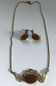 Vintage Signed VAN DELL Goldstone Necklace Pendant amp; Earring Set Aventurine $14.99