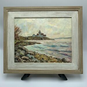 Richard Sigafoos quot;Indian Island Lighthousequot; Painting Listed Maine Artist $325.00