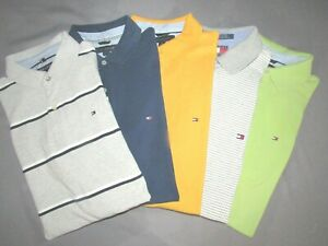 Lot of 5 Tommy Hilfiger Short Sleeved Colorblock Pique Polo Shirts Mens Large $62.99