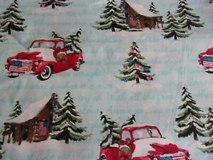 Christmas Snowy Red Truck Tree Flag Blue Fabric Traditions Quilt Cotton 1 2 YARD $7.85