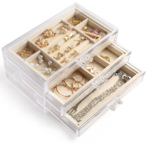 Jewelry Box Jewellery Organizer Earring Rings Necklaces Bracelets Display Case