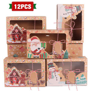 12pcs Christmas Cookie Gift Kraft Paper Boxes Clear Window Candy Arts Package US $22.99