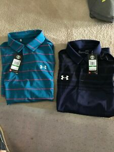 Two mens Under Armour Golf Shirts Large NWT RRP $130 $42.00
