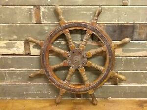 Collectable Antique Ships Wheel In Wood and Steel 85cm 33.5quot; Diameter GBP 250.00