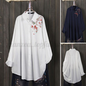 Womens Full Sleeve Embroidery Floral Long Shirts Tops Button Soft Cotton Blouses $16.55