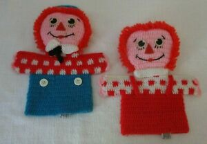 1975 Raggedy Ann amp; Andy Hand Puppets Knitted Yarn 8.5quot; R. Dakin Bobs Merrill $15.95