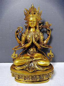 China Antique on Gold Buddha Statue of Ksitigarbha Antiques Collect $64.42