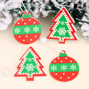 12pc set Christmas Wooden Pendant Ball Tree Painted Christmas Decorations