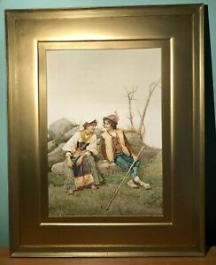 ANTIQUE SIGNED FILIPPO INDONI ITALIAN COURTING COUPLE SCENE WATERCOLOR PAINTING $750.00