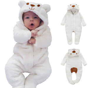 Newborn Baby Boy Girl Kids Bear Hooded Romper Jumpsuit Bodysuit Clothes Outfits $13.85