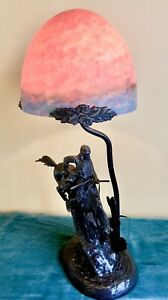 VERY RARE FREDERIC REMINGTON BRONZE LAMP GLASS SHADE quot;THE MOUNTAIN MANquot; BRONCO $299.00