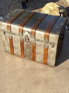 1880s Antique Steamer Trunk Ship Stage Coach Chest Metal amp; Wood $499.99