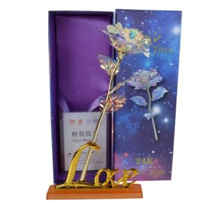 24K Gold Foil Rose Flower Romantic Valentines Party Decor Birthaday Gift Newest $6.99
