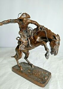 Vintage Broncho Buster by Frederic Remington Bronze Sculpture 1988 Collection $54.99