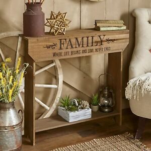 Farmhouse Sentiment Console Table quot;Familyquot; Rustic Country Decor $49.98