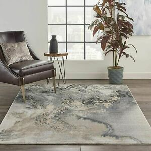 Nourison Maxell Modern Contemporary Grey Polyester Area Rug 5#x27;3quot; x 7#x27;3quot; $119.00