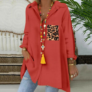 Womens Loose Long Sleeve V Neck Button Down Leopard Printed Long Shirts Blouse $16.59
