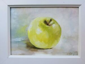 Apple original oil painting a day still life signed fruit 5x7 2020 $85.00