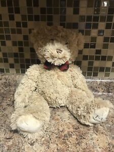 FAO Schwarz Bear Plush Teddy 17 Golden Brown Red Plaid Ribbon Classic $29.99