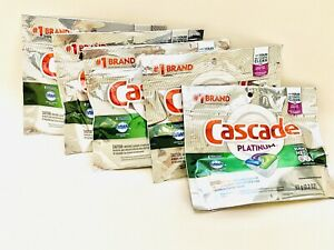 5 PK Cascade Platinum Dishwasher Cleaner Rinse Aid Fresh Scent 4ct Pk 20 Total $14.99