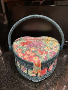 Vintage Fabric Covered Sewing Storage Box Basket Heart Shaped Floral Padded top $22.00