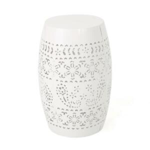 Ruby White Round Metal Outdoor Side Table by Noble House $44.90