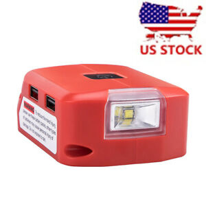 1x DC USB POWER SOURCE Adapter Fit Milwaukee M18 XC Battery w 140lm LED US STOCK $19.59