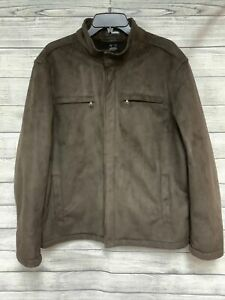 MENS CLAIBORNE Large ZIP UP BROWN JACKET