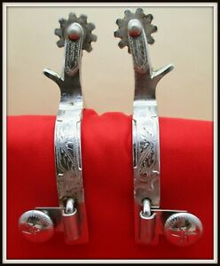 Vintage CR CROCKETT RENALDE SILVER MOUNTED Hand Engraved Full Size SPURS
