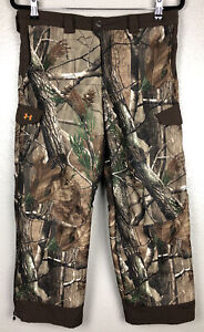 Under Armour Boys Youth L Fleece Lined Cold Gear RealTree Camo Hunting Pants