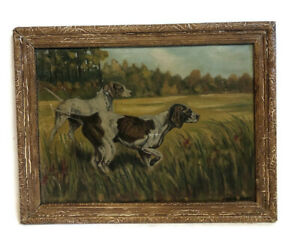 ANTIQUE PAINTING OIL ON BOARD GERMAN SHORTHAIRED POINTER DOG by JOHN DODD 13X10 $254.99